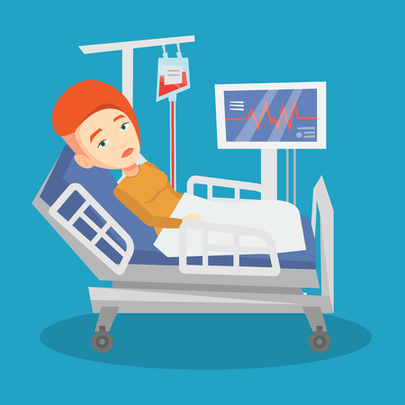 woman lying in bed: Young caucasian woman lying in bed in hospital. Patient resting in hospital bed with heart rate monitor. Patient during blood transfusion procedure. Vector flat design illustration. Square layout.