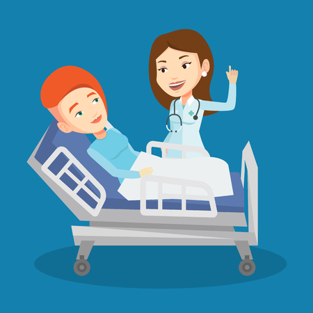 lying in bed: Caucasian female doctor visiting patient. Doctor pointing finger up during visiting of patient. Woman lying in hospital bed while doctor visits her. Vector flat design illustration. Square layout. Illustration