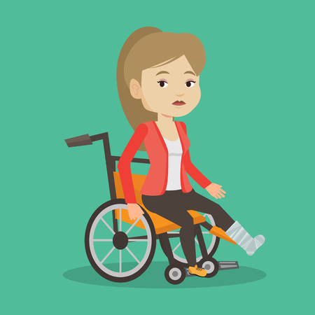 Young sad caucasian woman with leg in plaster. Injured upset woman sitting in wheelchair with broken leg. Woman with fractured leg suffering from pain. Vector flat design illustration. Square layout.
