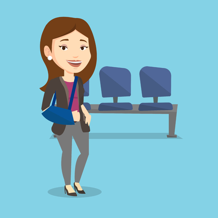 An injured caucasian woman wearing an arm brace. Young smiling woman standing with her broken right arm. Cheerful woman with broken arm in a cast. Vector flat design illustration. Square layout.