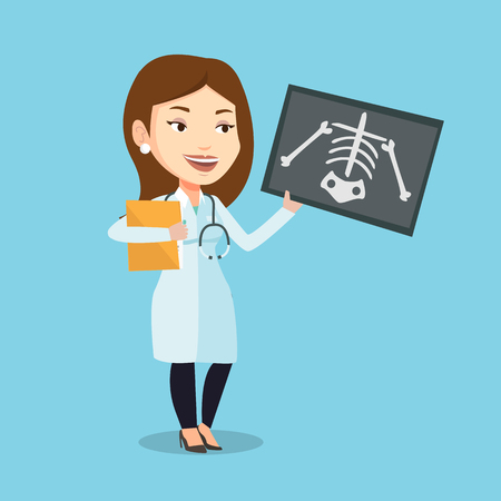 radiogram: Caucasian female doctor examining a radiograph. Young smiling doctor looking at a chest radiograph. Female doctor observing a skeleton radiograph. Vector flat design illustration. Square layout. Illustration