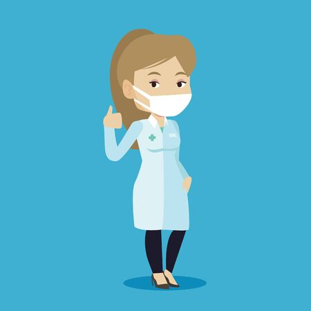 protective gown: Caucasian female doctor in mask giving thumbs up. Female doctor in medical gown showing thumbs up gesture. Female doctor with gesture thumb up. Vector flat design illustration. Square layout. Illustration