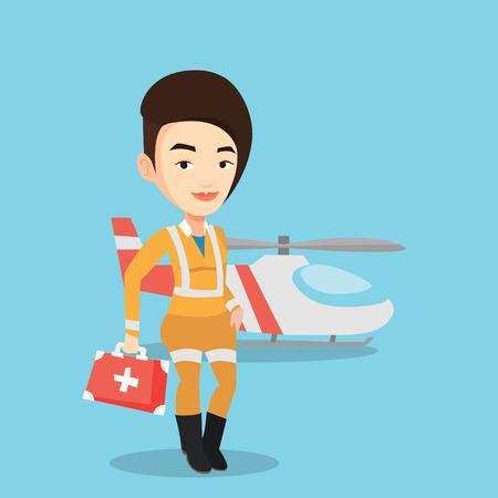 Caucasian female doctor of air ambulance. Doctor of air ambulance standing in front of rescue helicopter. Doctor of air ambulance with first aid box. Vector flat design illustration. Square layout. Illustration