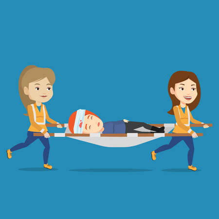 Caucasian emergency doctors transporting victim after accident on the stretcher. Team of emergency doctors carrying injured woman on medical stretcher. Vector flat design illustration. Square layout. Illustration