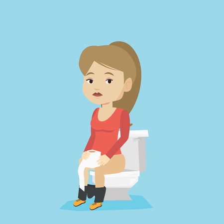Caucasian woman sitting on toilet bowl and suffering from diarrhea. Woman holding toilet paper roll and suffering from diarrhea. Girl sick with diarrhea. Vector flat design illustration. Square layout Ilustracja
