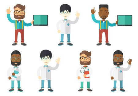 finger up: Friendly doctor in medical gown showing finger up. Young male doctor with finger up. Man in doctor uniform pointing finger up. Set of vector flat design illustrations isolated on white background.