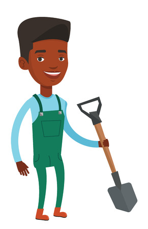 African-american farmer holding a shovel in hand. Farmer standing with shovel. Farmer is going to plow an agricultural field with shovel. Vector flat design illustration isolated on white background.