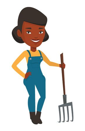 happy farmer: African-american farmer holding a pitchfork. Happy farmer in summer hat standing with a pitchfork. Young farmer working with a pitchfork. Vector flat design illustration isolated on white background.