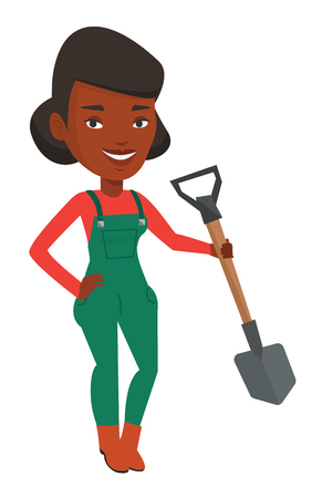 plow: African-american farmer holding a shovel in hand. Farmer standing with shovel. Farmer is going to plow an agricultural field with shovel. Vector flat design illustration isolated on white background.