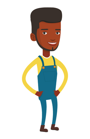 full lenght: Smiling african-american farmer. Happy farmer standing with hands in pockets. Illustration of full lenght of young satisfied farmer. Vector flat design illustration isolated on white background.