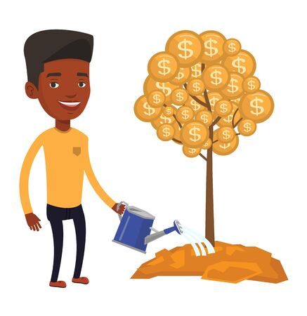 African man watering money tree. Man investing money in business project. Illustration of investment money in business. Investment concept. Vector flat design illustration isolated on white background