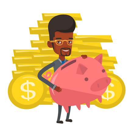 African-american cheerful businessman with a piggy bank. Businessman holding a big piggy bank. Businessman saving money in a piggy bank. Vector flat design illustration isolated on white background.