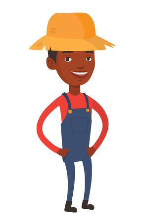 full lenght: Happy african-american farmer in summer hat. Farmer standing with hands in pockets. Illustration of full lenght of young satisfied farmer. Vector flat design illustration isolated on white background.