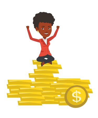 An african cheerful business woman sitting on stack of golden coins. Business woman sitting on a pile of golden coins with raised hands. Vector flat design illustration isolated on white background.