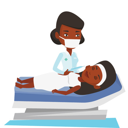 injections: Woman lying on the couch in beauty salon and getting cosmetic dermal injection in her face. Doctor making beauty injections to client. Vector flat design illustration isolated on white background.