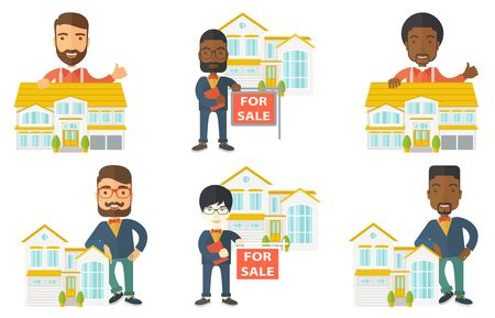 house for sale: Young happy real estate agent offering the house for sale. Real estate agent with placard for sale standing in front of the house. Set of vector flat design illustrations isolated on white background.