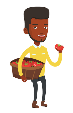 Young african-american farmer holding a box with tomatoes. Farmer standing with box of tomatoes. Farmer showing ripe red tomato. Vector flat design illustration isolated on white background. Illustration