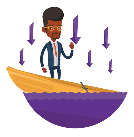 Business man standing in sinking boat and asking for help. Business man sinking and arrows behind him symbolizing business bankruptcy. Vector flat design illustration isolated on white background.