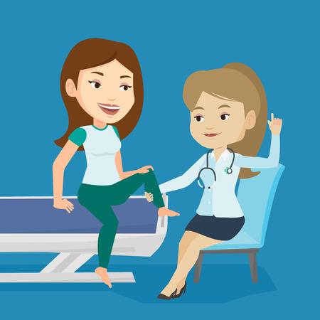 Kaukasische sportschool arts die enkel van een patiënt. Fysio therapeut onderzoekt etappe van jonge sport vrouw. Fysio therapeut het geven van een been massage aan de patiënt. Vector platte ontwerp illustratie. vierkante lay-out