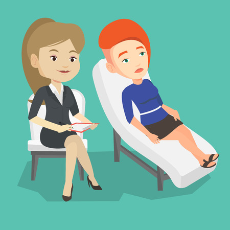 Caucasian patient lying on sofa and talking about problems with psychotherapist or psychologist. Psychologist having session with patient in depression. Vector flat design illustration. Square layout. Vektorové ilustrace