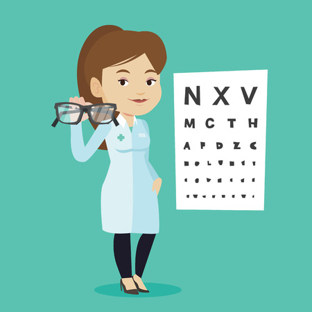 ophthalmologist: Caucasian ophthalmologist doctor giving glasses. Ophthalmologist holding eyeglasses on the background of eye chart. Ophthalmologist offering glasses. Vector flat design illustration. Square layout. Illustration