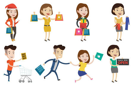Young smiling man holding shopping bags. Happy caucasian man carrying shopping bags. Man standing with a lot of shopping bags. Set of vector flat design illustrations isolated on white background. Vectores