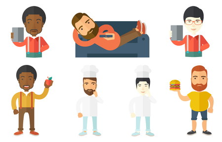 came: Creative chief-cook pointing finger up. Chief-cook in uniform thinking about the recipe. Chief-cook came up with idea for recipe. Set of vector flat design illustrations isolated on white background.