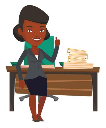 came: African-american businesswoman pointing finger up because he came up with business idea. Woman having business idea. Business idea concept. Vector flat design illustration isolated on white background Illustration