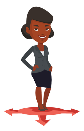 choosing: An african-american woman standing on three alternative career ways. Young woman choosing career way. Concept of career choices. Vector flat design illustration isolated on white background.