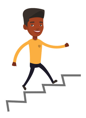 career ladder: An african-american business man running up the career ladder. Happy business man climbing the career ladder. Concept of business career. Vector flat design illustration isolated on white background.