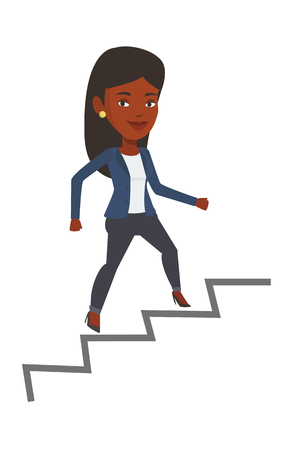 career ladder: African-american business woman running up the career ladder. Happy business woman climbing the career ladder. Concept of business career. Vector flat design illustration isolated on white background. Illustration