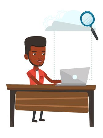 cloud computing technologies: An african-american business man using cloud computing technologies. Business man working on laptop under cloud. Cloud computing concept. Vector flat design illustration isolated on white background.