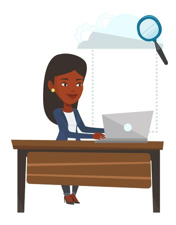 African-american business woman using cloud computing technologies. Business woman working on laptop under cloud. Cloud computing concept. Vector flat design illustration isolated on white background.