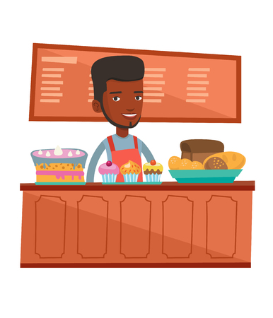 An african-american bakery worker offering pastry. Worker standing behind the counter with cakes at the bakery. Man working at the bakery. Vector flat design illustration isolated on white background. Reklamní fotografie - 68316232