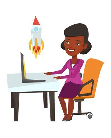 African-american businesswoman looking at business start up rocket. Businesswoman working on business start up. Business start up concept. Vector flat design illustration isolated on white background. Illustration