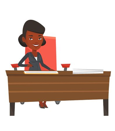 subscribing: Businesswoman signing contract in office. Woman is about to sign a business contract. Confirmation of transaction by signing of contract. Vector flat design illustration isolated on white background.