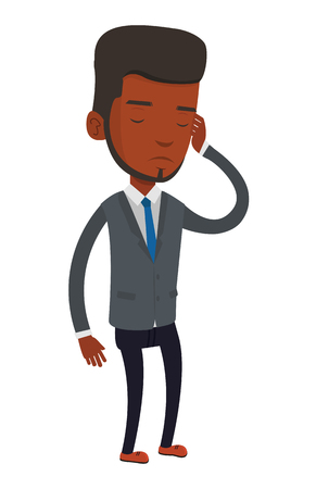 sad businessman: African-american businessman thinking with closed eyes. Businessman scratching head during thinking process. Concept of business thinking. Vector flat design illustration isolated on white background. Illustration