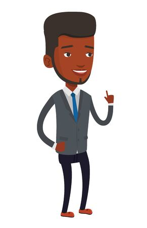 man pointing up: African-american businessman pointing finger up because he came up with business idea. Man having business idea. Business idea concept. Vector flat design illustration isolated on white background. Illustration