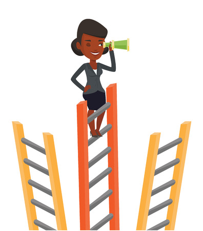 looking for job: African businesswoman searching for opportunities. Woman using spyglass for searching of opportunities. Business opportunities concept. Vector flat design illustration isolated on white background. Illustration