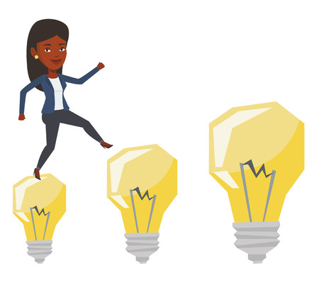 hopping: African-american business woman jumping on idea bulbs. Smiling business woman in a suit hopping onto idea bulbs. Concept of business idea. Vector flat design illustration isolated on white background.