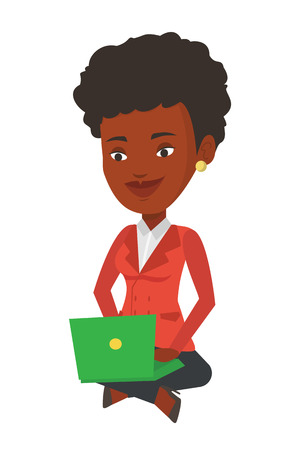African-american businesswoman sitting with laptop on knees. Young smiling businesswoman working on a laptop. Business technology concept. Vector flat design illustration isolated on white background. Illustration