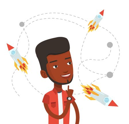 came: African-american man looking at flying business rockets. Young man came up with an idea for a business startup. Business startup concept. Vector flat design illustration isolated on white background.