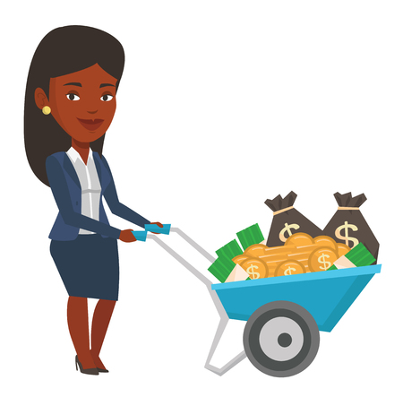 Businesswoman with wheelbarrow full of money. Businesswoman pushing wheelbarrow full of money. Wealthy businesswoman transporting money. Vector flat design illustration isolated on white background.
