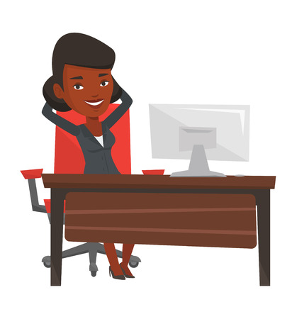 business woman: Satisfied businesswoman sitting at workplace in the office. Happy businesswoman relaxing in the office with her hands clasped behind head. Vector flat design illustration isolated on white background.