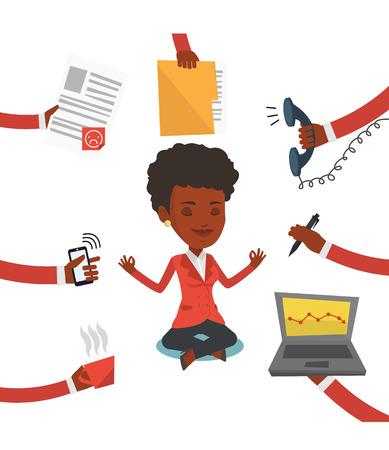 Africano trabajador mujer de negocios. Mujer de negocios joven rodeada por muchas manos que le dan mucho trabajo. Concepto de trabajo duro. Vector de diseño plano ilustración aislado sobre fondo blanco.