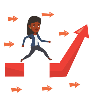 business obstacle: African businesswoman coping with business obstacle successfully. Businesswoman facing with business obstacle. Business obstacle concept. Vector flat design illustration isolated on white background.