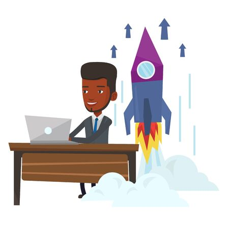 Young african businessman working on business start up and business start up rocket taking off behind him. Business start up concept. Vector flat design illustration isolated on white background. Illustration