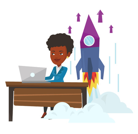 Young african businesswoman working on business start up and business start up rocket taking off behind her. Business start up concept. Vector flat design illustration isolated on white background. Illustration