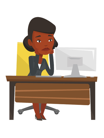 African-american exhausted employee sitting at workplace in front of computer. Overworked tired employee working with head propped on hand. Vector flat design illustration isolated on white background Çizim