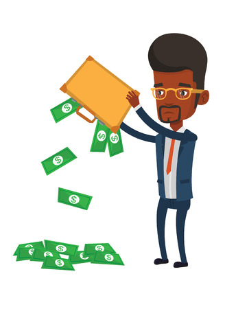 emptying: Africand epressed bankrupt shaking out money from his briefcase. Despaired bankrupt businessman emptying a briefcase. Bankruptcy concept. Vector flat design illustration isolated on white background Illustration